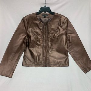 Révue Women's Metallic Rose Bronze Leather Jacket